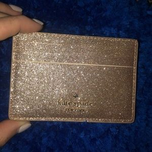 kate spade rose gold glitter card holder